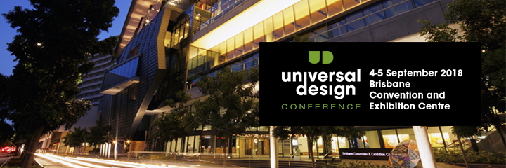 Header image of 2018 Australian Universal Design logo overlayed over a photograph of the event location.